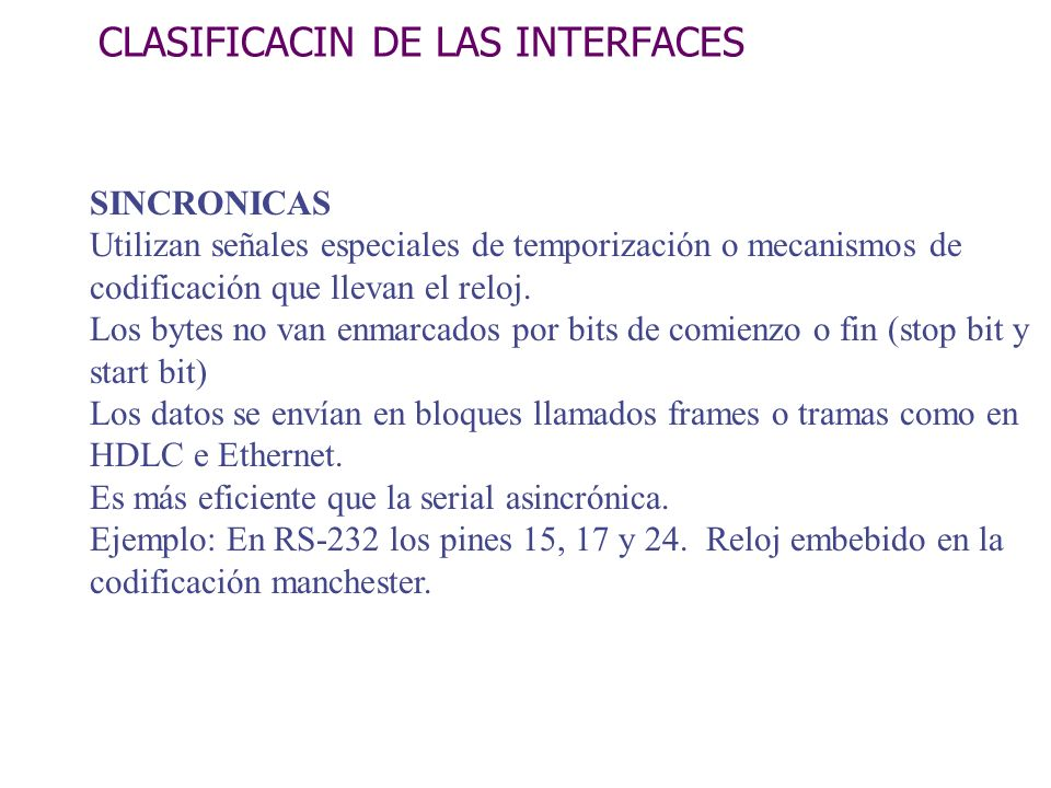 CLASIFICACIN DE LAS INTERFACES