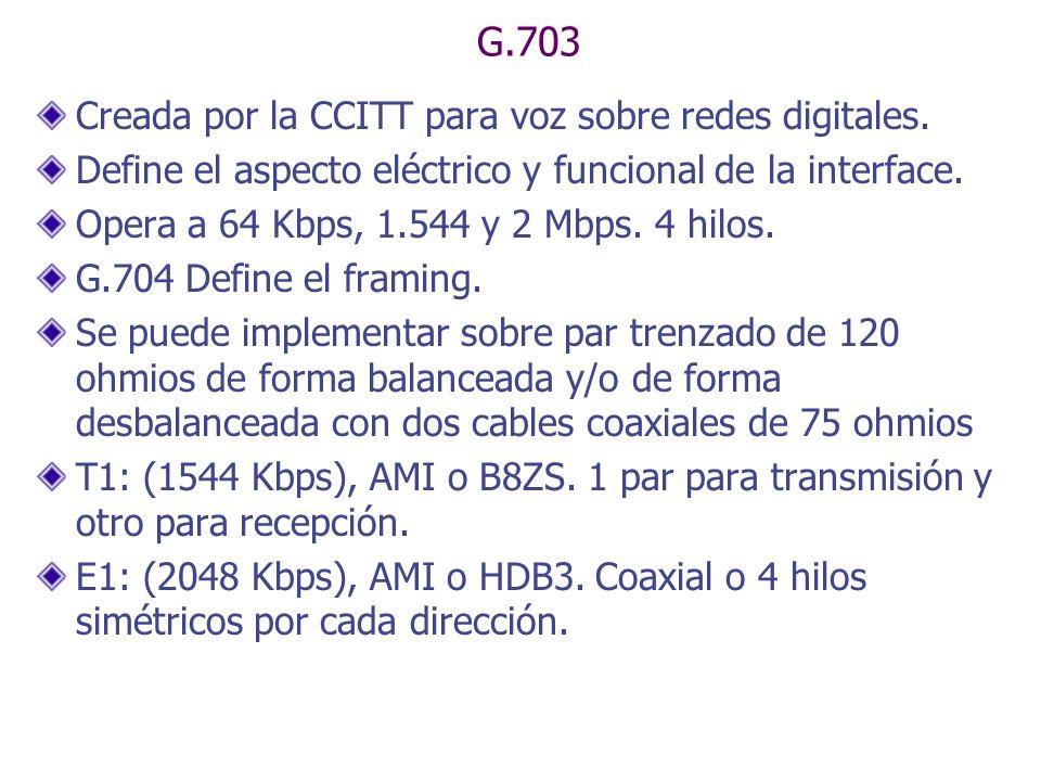 G.703 Creada por la CCITT para voz sobre redes digitales.