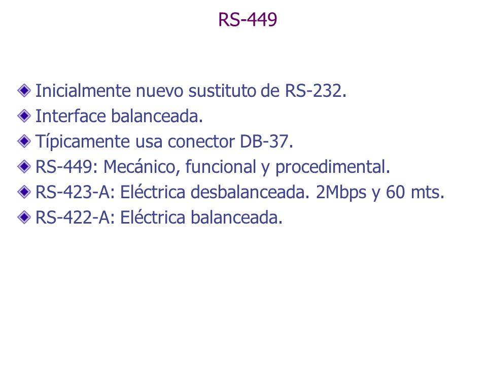 RS-449 Inicialmente nuevo sustituto de RS-232. Interface balanceada.