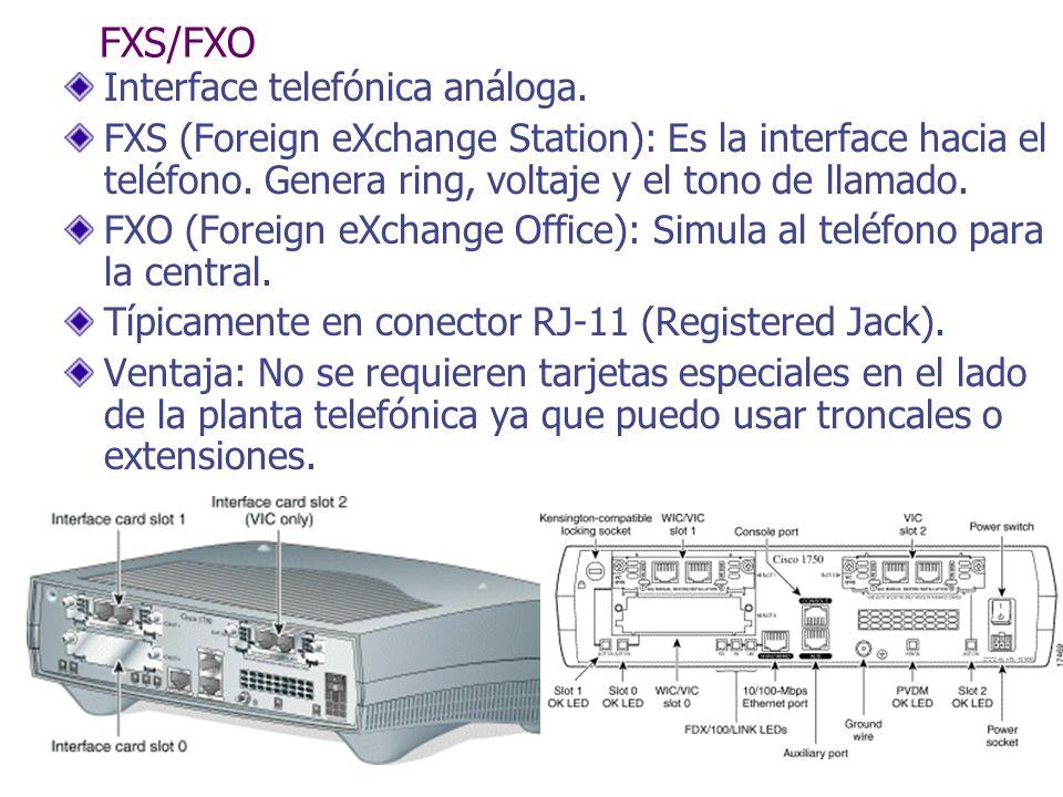 FXS/FXO Interface telefónica análoga.