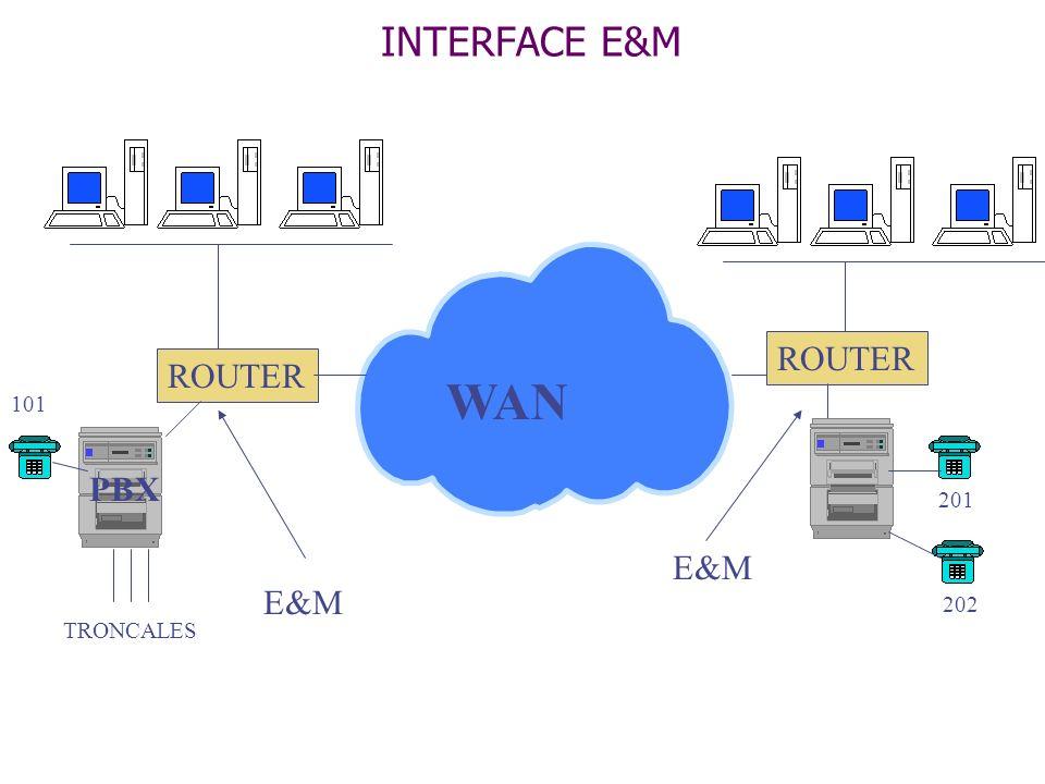 INTERFACE E&M WAN ROUTER ROUTER 101 PBX 201 E&M E&M 202 TRONCALES