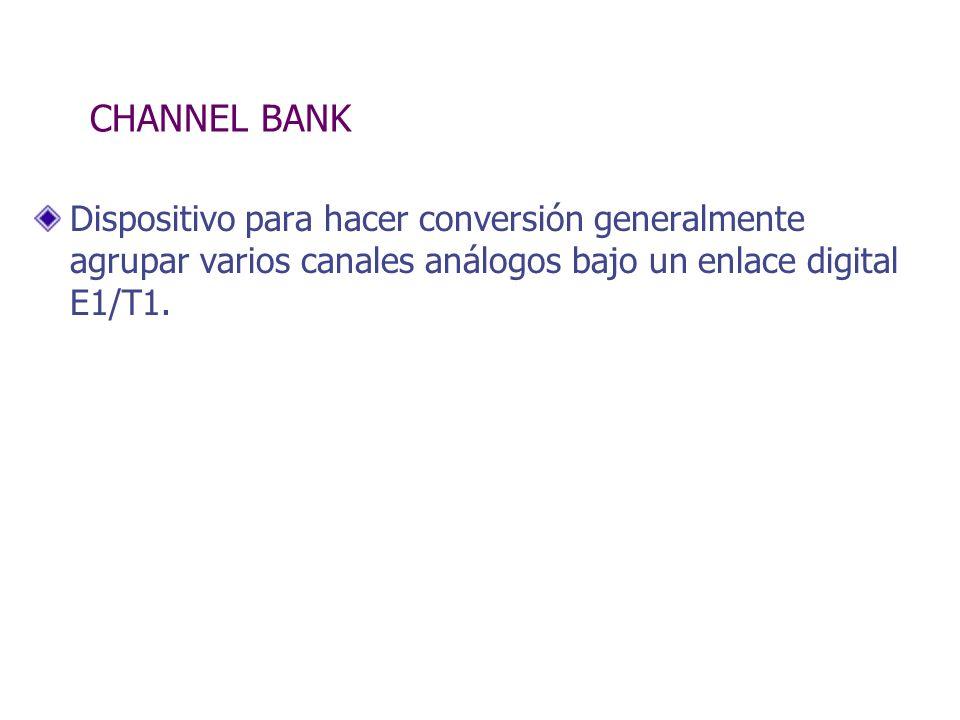 CHANNEL BANK Dispositivo para hacer conversión generalmente agrupar varios canales análogos bajo un enlace digital E1/T1.