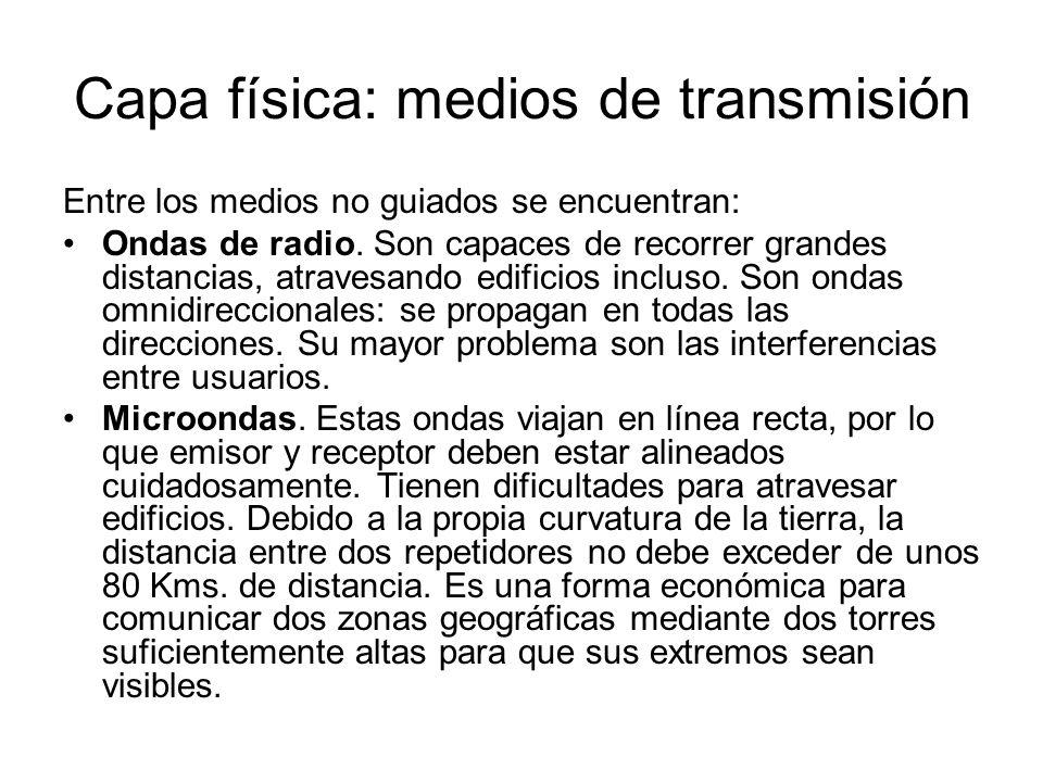 Capa física: medios de transmisión