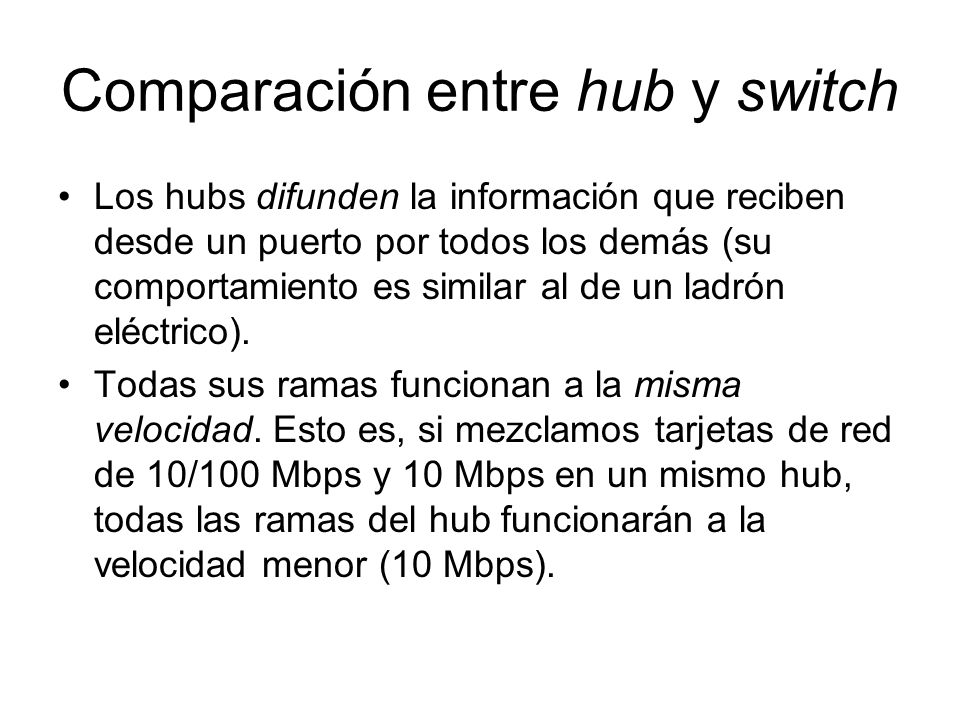 Comparación entre hub y switch