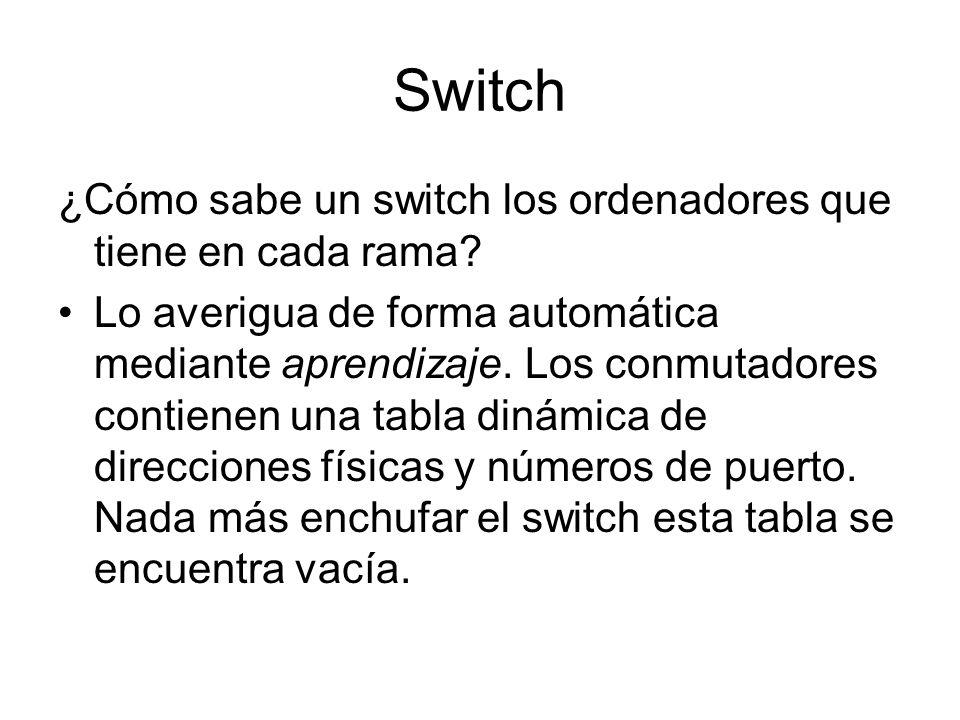 Switch ¿Cómo sabe un switch los ordenadores que tiene en cada rama