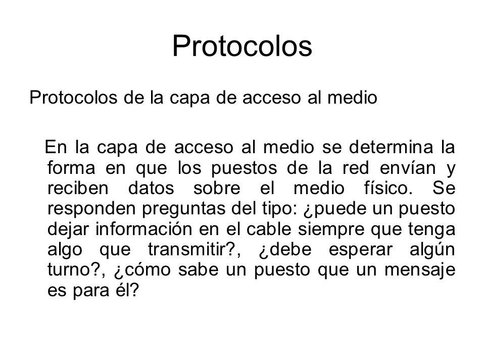 Protocolos Protocolos de la capa de acceso al medio