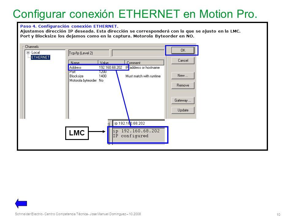 Configurar conexión ETHERNET en Motion Pro.