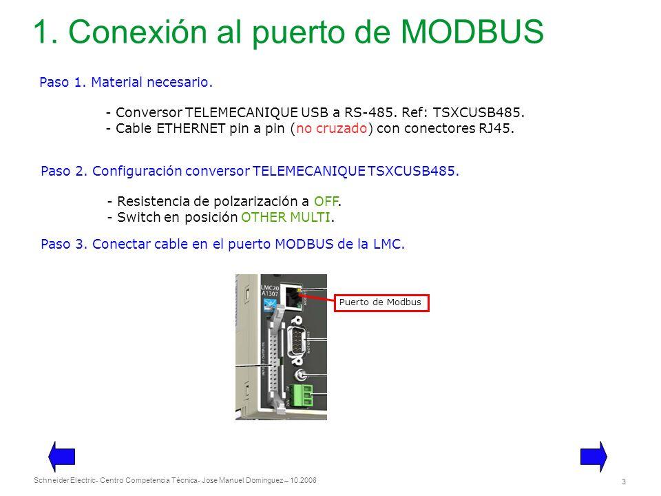 1. Conexión al puerto de MODBUS