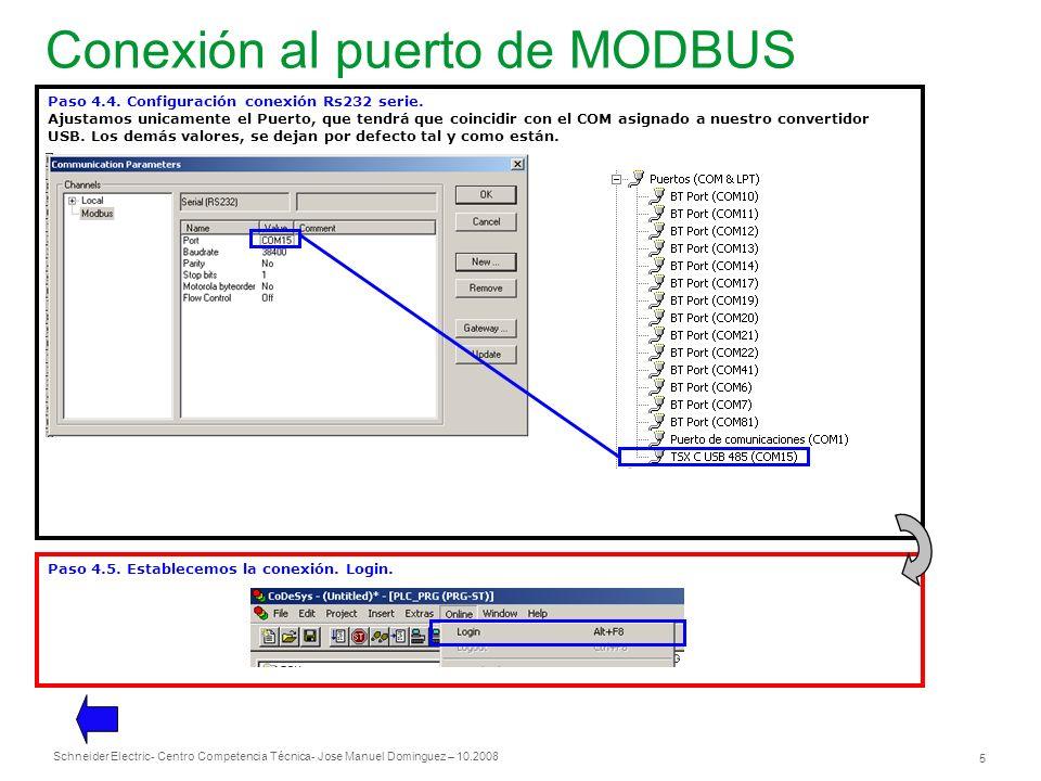Conexión al puerto de MODBUS