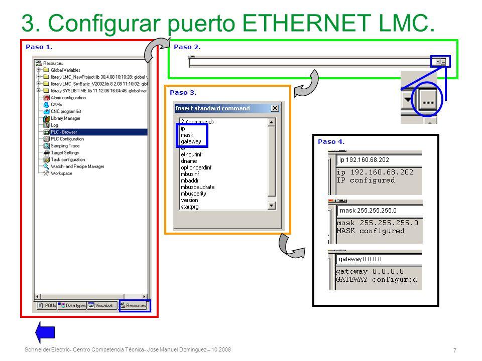 3. Configurar puerto ETHERNET LMC.