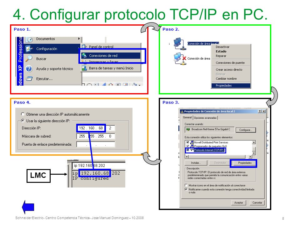 4. Configurar protocolo TCP/IP en PC.