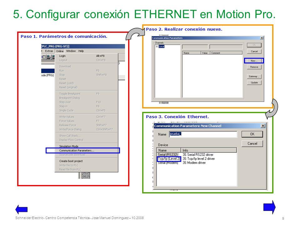 5. Configurar conexión ETHERNET en Motion Pro.