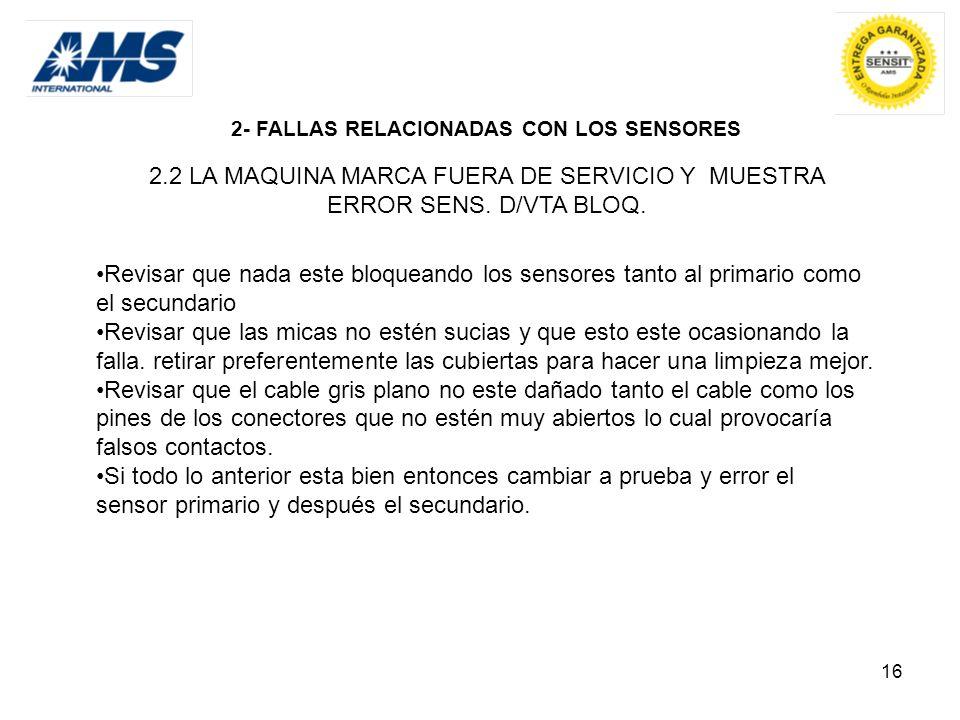 2- FALLAS RELACIONADAS CON LOS SENSORES