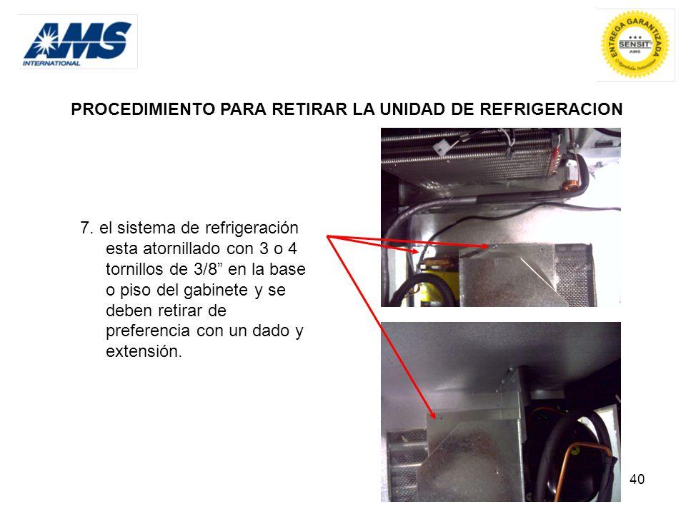 PROCEDIMIENTO PARA RETIRAR LA UNIDAD DE REFRIGERACION
