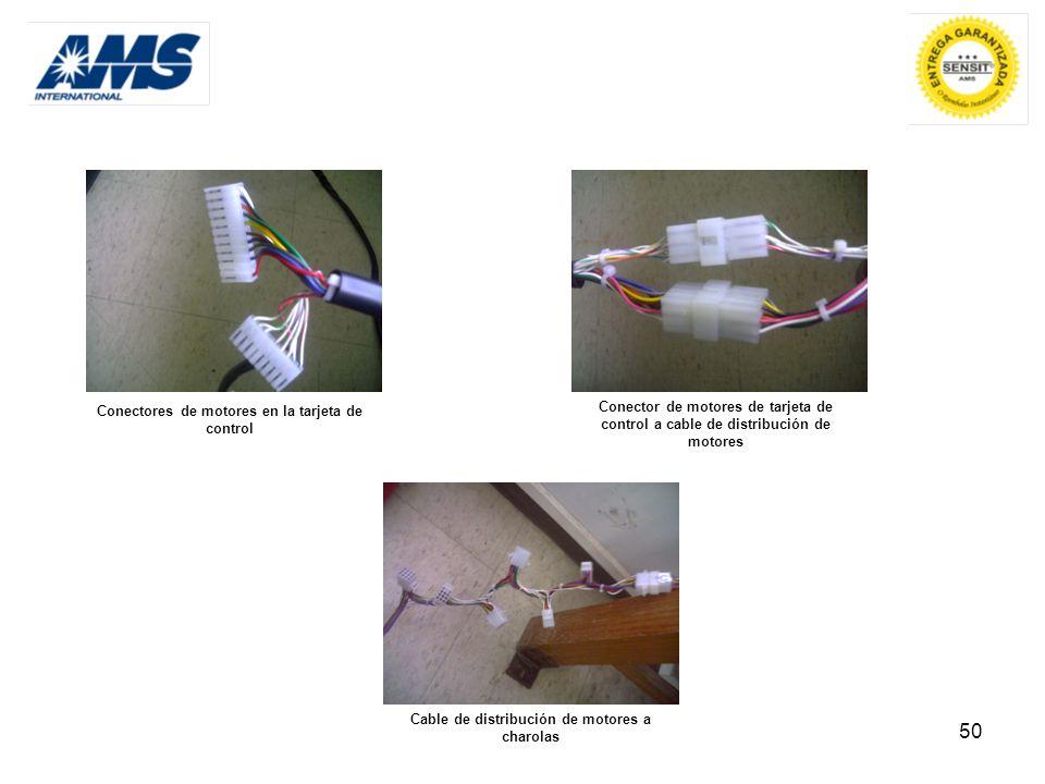 Conectores de motores en la tarjeta de control