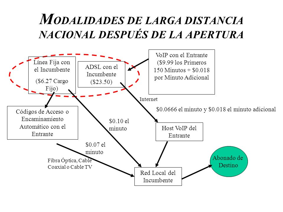 MODALIDADES DE LARGA DISTANCIA NACIONAL DESPUÉS DE LA APERTURA