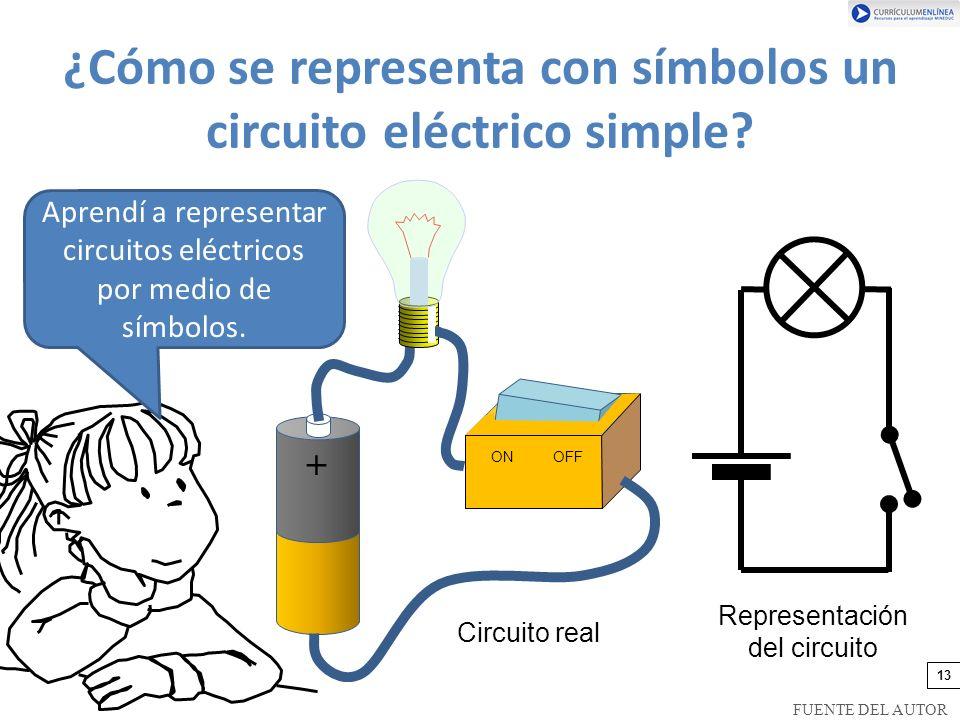 ¿Cómo se representa con símbolos un circuito eléctrico simple