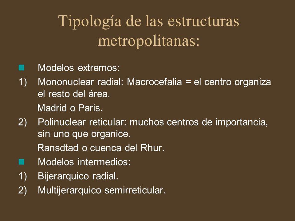 Tipología de las estructuras metropolitanas: