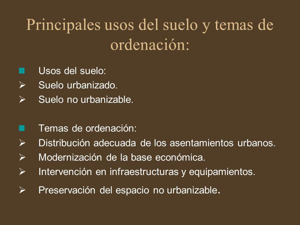 Principales usos del suelo y temas de ordenación:
