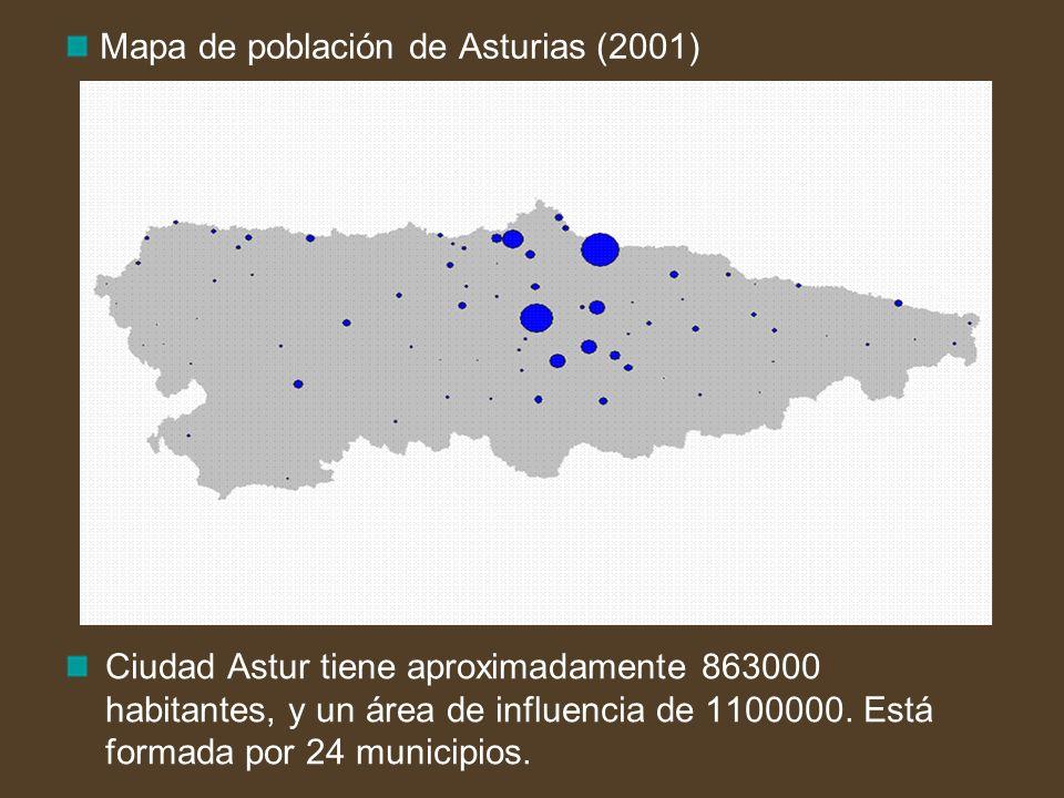 Mapa de población de Asturias (2001)