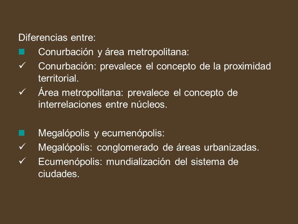 Diferencias entre: Conurbación y área metropolitana: Conurbación: prevalece el concepto de la proximidad territorial.