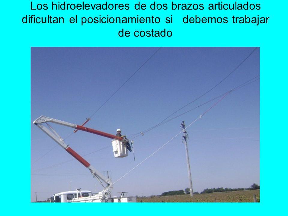Los hidroelevadores de dos brazos articulados dificultan el posicionamiento si debemos trabajar de costado