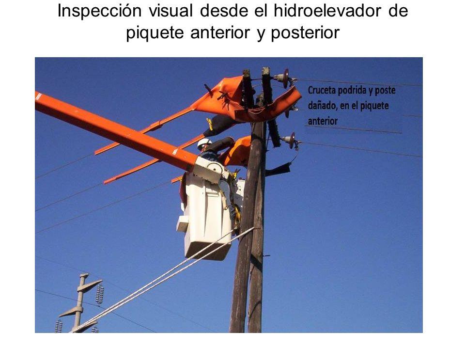 Inspección visual desde el hidroelevador de piquete anterior y posterior