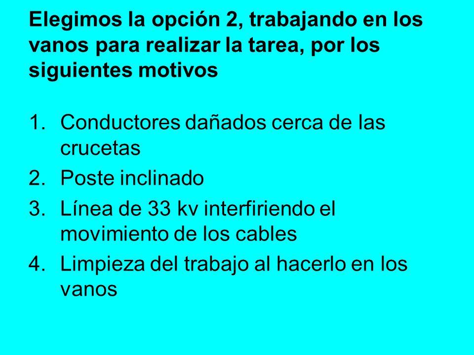 Elegimos la opción 2, trabajando en los vanos para realizar la tarea, por los siguientes motivos