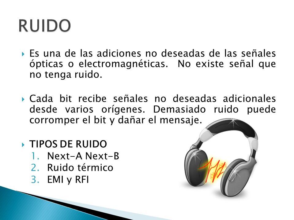 RUIDO Es una de las adiciones no deseadas de las señales ópticas o electromagnéticas. No existe señal que no tenga ruido.