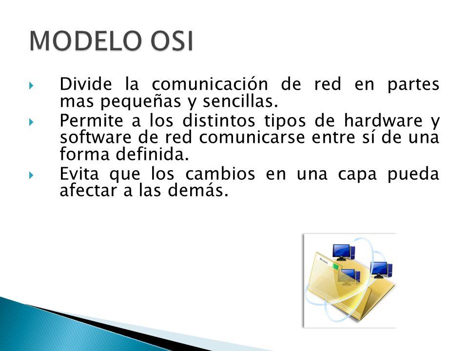 MODELO OSI Divide la comunicación de red en partes mas pequeñas y sencillas.