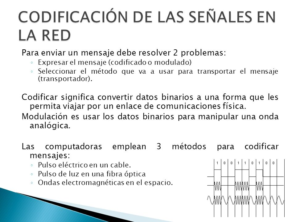 CODIFICACIÓN DE LAS SEÑALES EN LA RED
