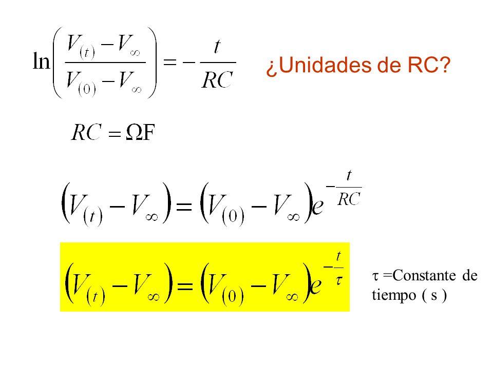¿Unidades de RC  =Constante de tiempo ( s )