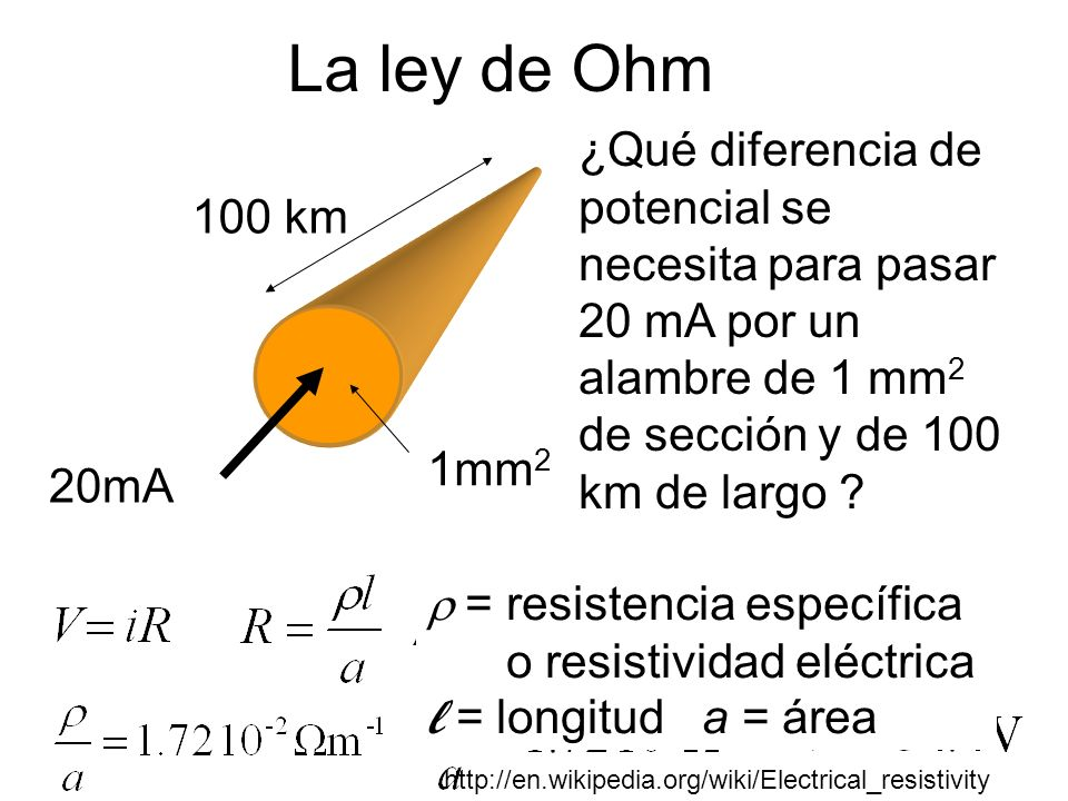La ley de Ohm ¿Qué diferencia de potencial se necesita para pasar 20 mA por un alambre de 1 mm2 de sección y de 100 km de largo