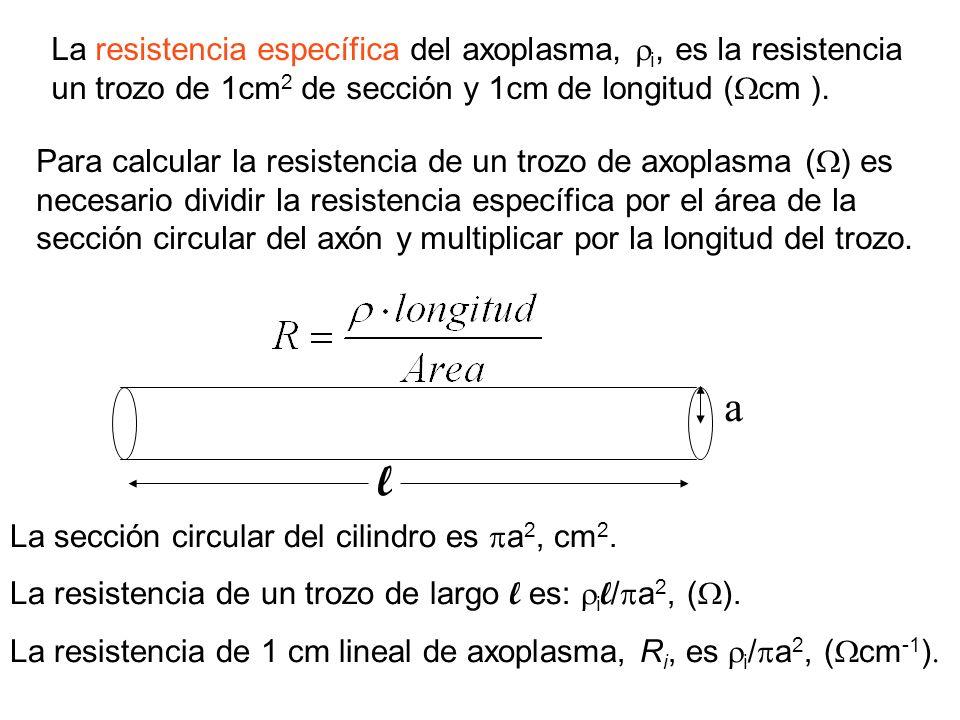 La resistencia específica del axoplasma, i, es la resistencia un trozo de 1cm2 de sección y 1cm de longitud (cm ).