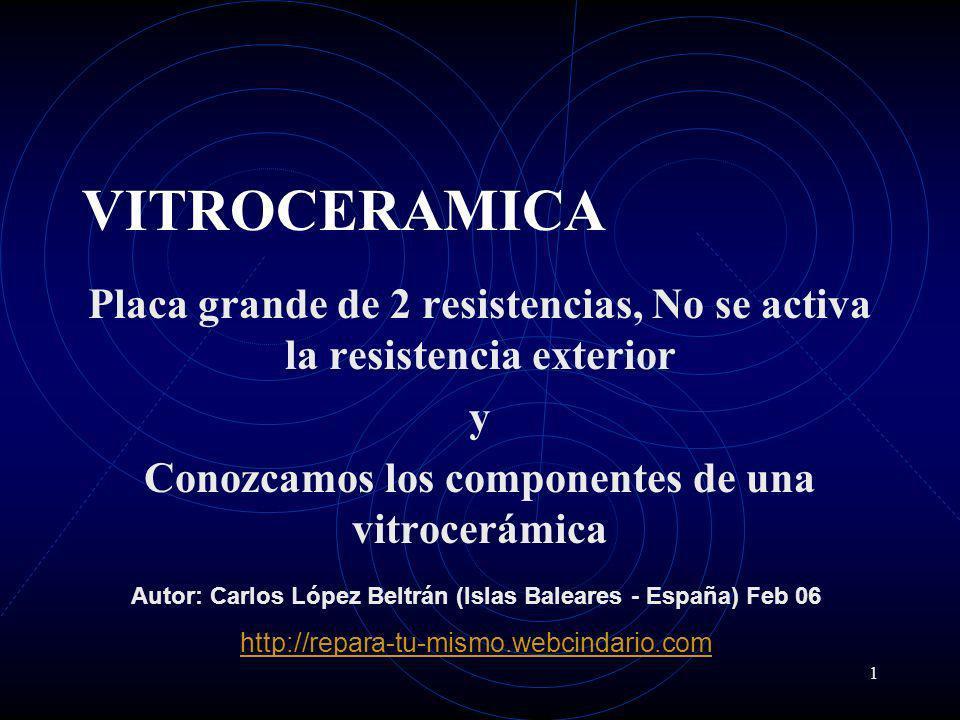 VITROCERAMICA Placa grande de 2 resistencias, No se activa la resistencia exterior. y. Conozcamos los componentes de una vitrocerámica.