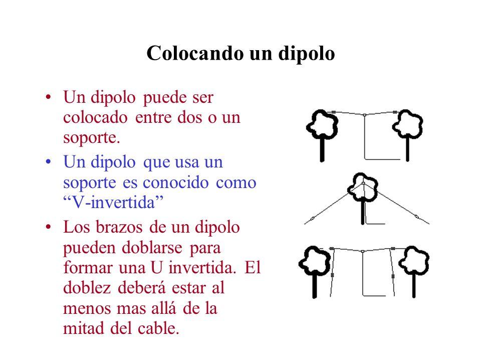 Colocando un dipolo Un dipolo puede ser colocado entre dos o un soporte. Un dipolo que usa un soporte es conocido como V-invertida