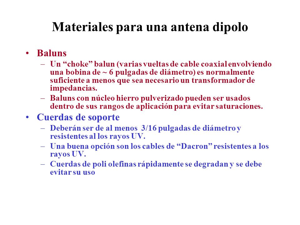 Materiales para una antena dipolo