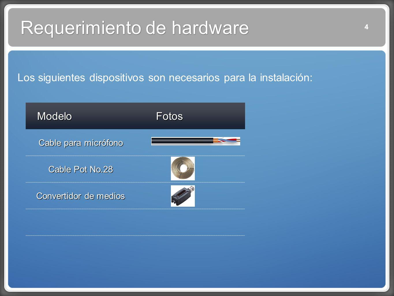 Los siguientes dispositivos son necesarios para la instalación: