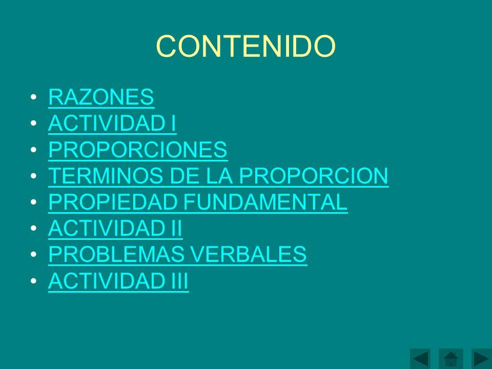 CONTENIDO RAZONES ACTIVIDAD I PROPORCIONES TERMINOS DE LA PROPORCION