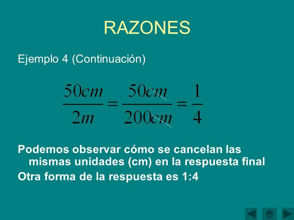 RAZONES Ejemplo 4 (Continuación)