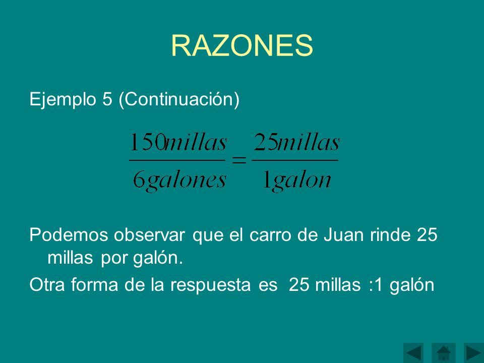 RAZONES Ejemplo 5 (Continuación)