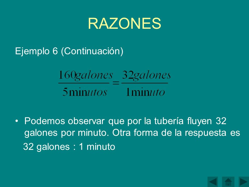 RAZONES Ejemplo 6 (Continuación)