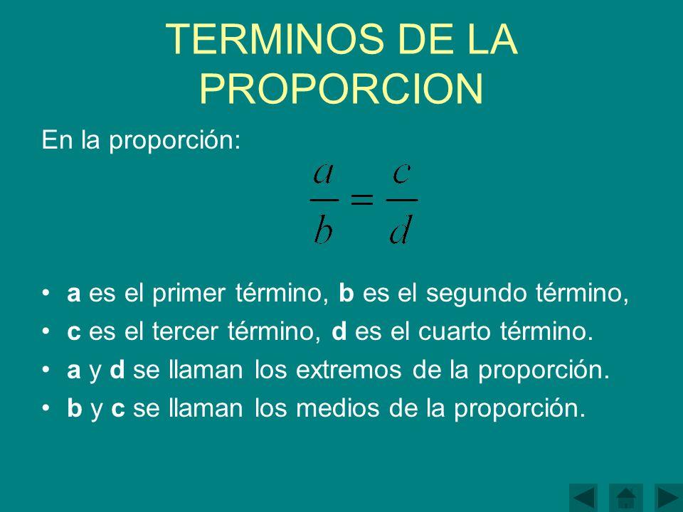 TERMINOS DE LA PROPORCION