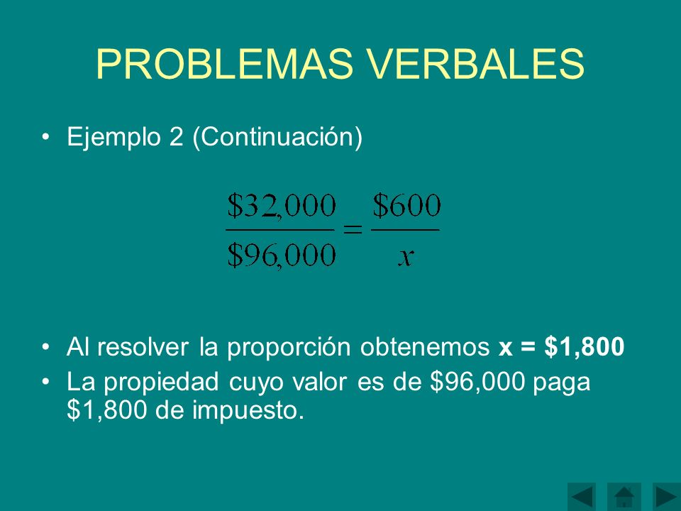 PROBLEMAS VERBALES Ejemplo 2 (Continuación)