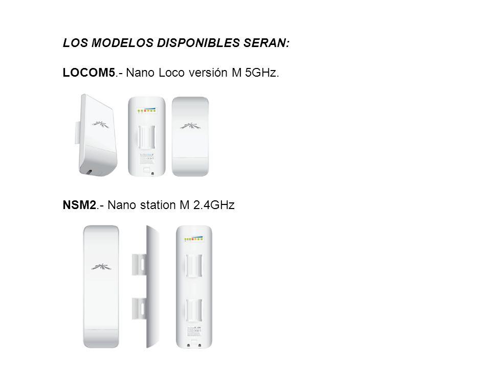 LOS MODELOS DISPONIBLES SERAN: