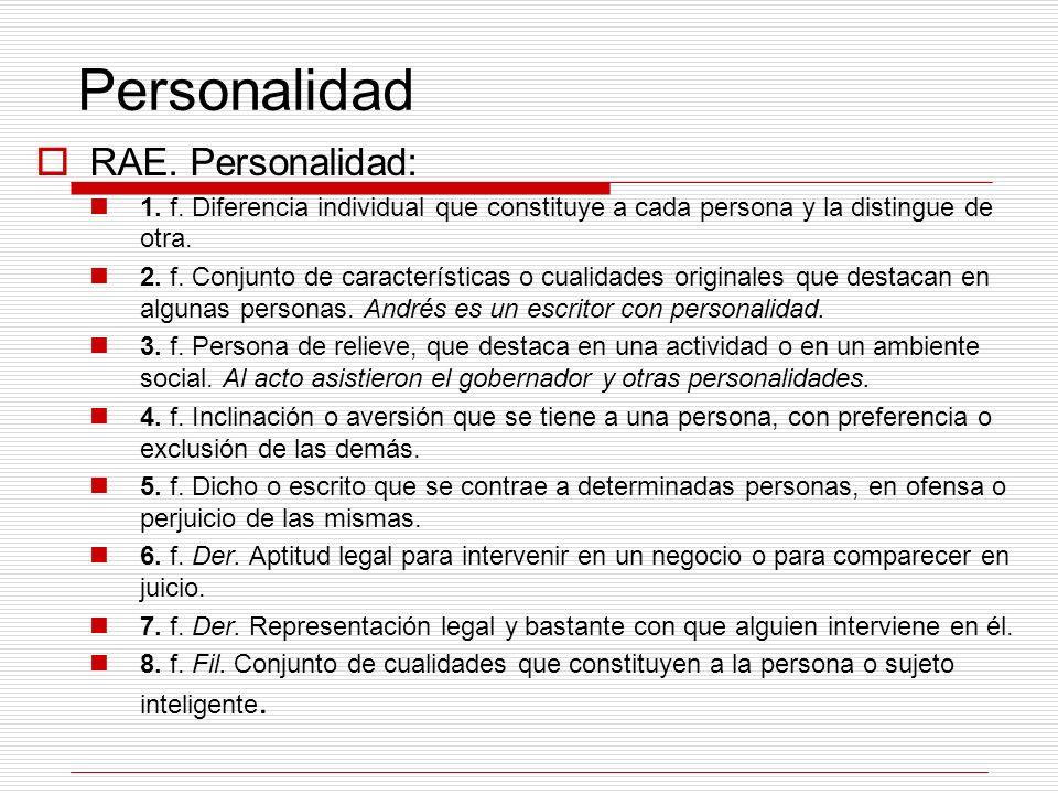 Personalidad RAE. Personalidad: