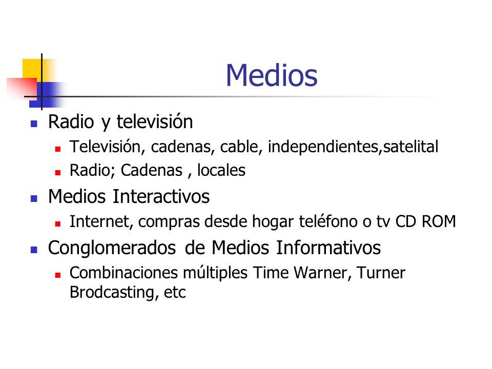 Medios Radio y televisión Medios Interactivos