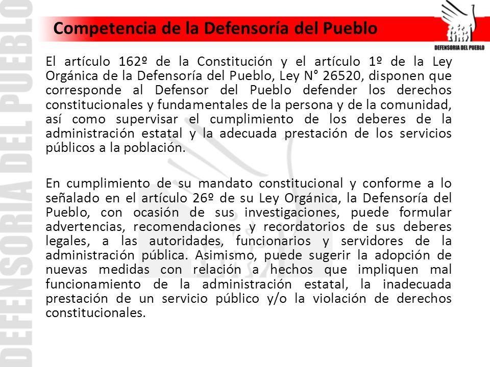 Competencia de la Defensoría del Pueblo