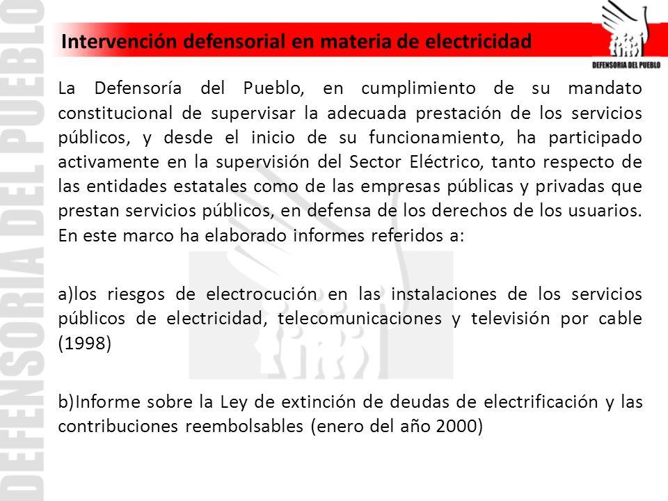 Intervención defensorial en materia de electricidad