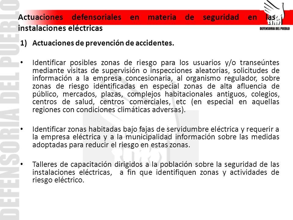 Actuaciones defensoriales en materia de seguridad en las instalaciones eléctricas